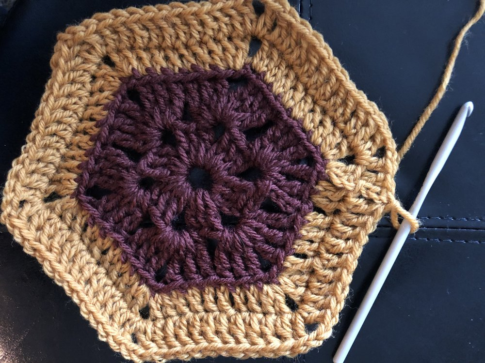 """Here we've got the main motif made and we're set to begin the """"Arm"""" section of the pattern. Note that we end the round off-centre, which means the arm will line up perfectly to have a centred arm when complete."""