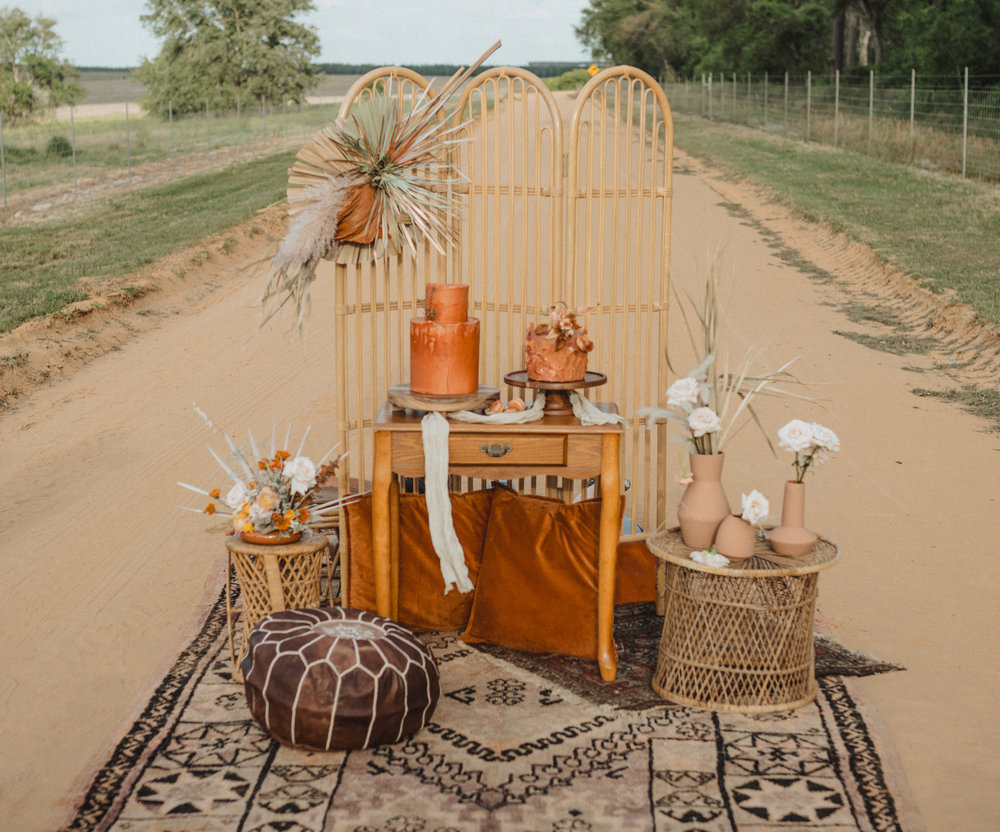 Boho Textiles Elopement Cake Table