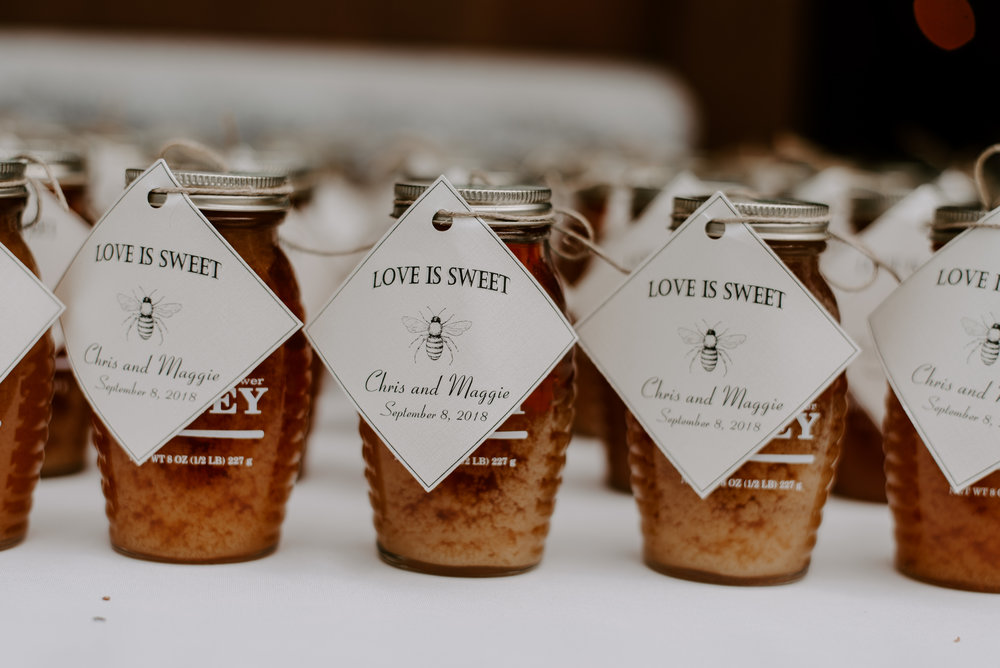 Ben's Sugar Shack pure honey sustainable wedding favors for bohemian and intimate weddings on Lake Winnipesaukee and throughout NH.