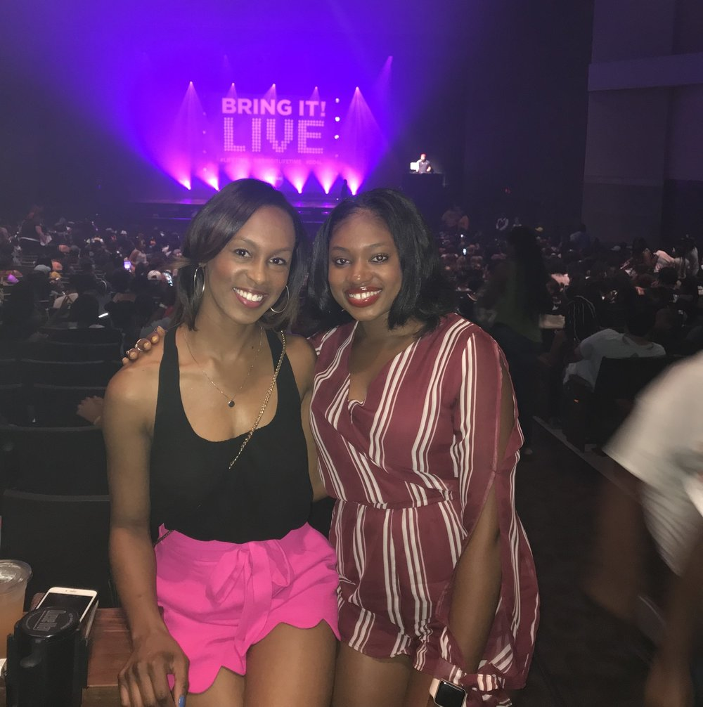 """My cousin and I at the """"Bring It"""" Live Tour at Ovens Auditorium."""