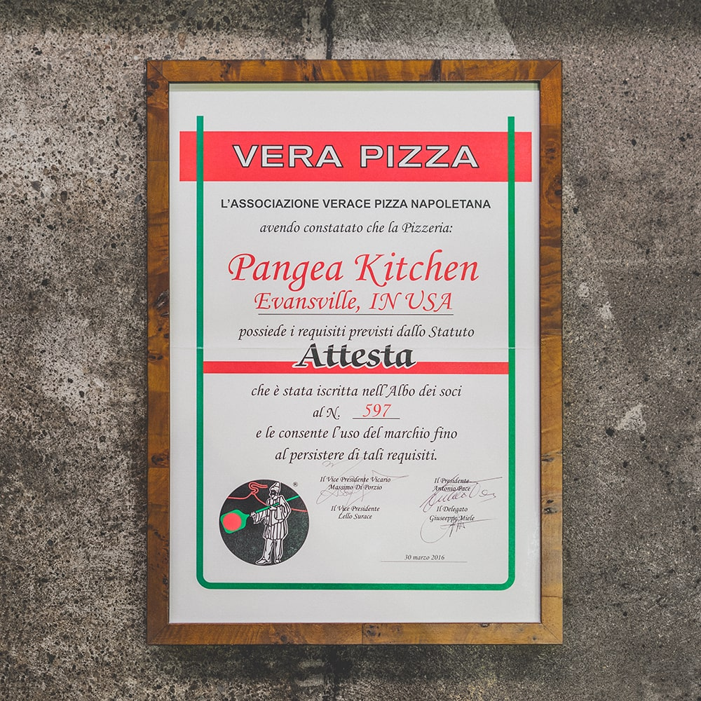 Certified By L'Associazione Verace Pizza Napoletana