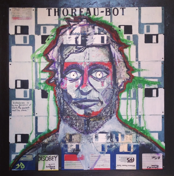Thoreau-Bot | oil & ink on floppy disks on wood | 24 x 24 inches | SOLD