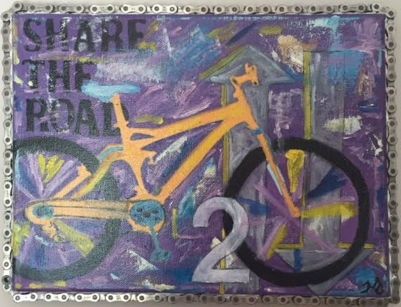 bike 2 | oil on canvas with bike chain | 9 x 12 inches | SOLD