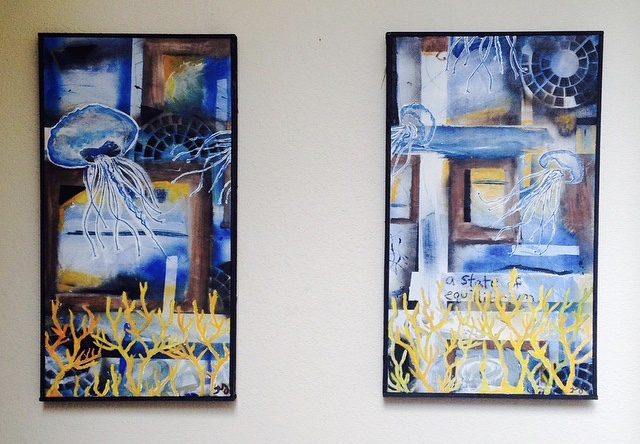 Jellyfish 1 & 2 | oil, acrylic, & spray on canvas | approx 14 x 24 inches each | sold as one piece | $150