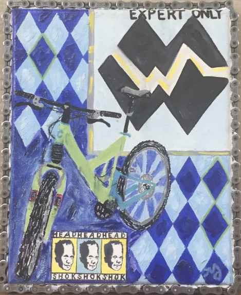 Cannondale 4 | oil on canvas with bike chain | 8 x 10 inches | SOLD