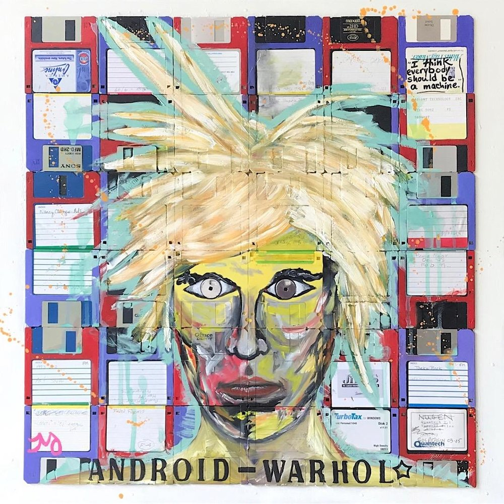 Android-Warhol | oil, ink, & floppy disks on wood panel | 24 x 24 inches | Available in store
