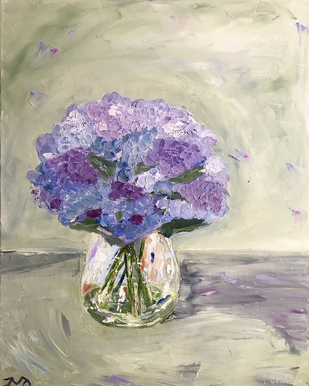 Hydrangeas | oil on canvas | 16 x 20 x 1.5 inches | Available in store