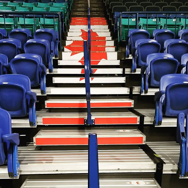 Setting up stair decals for the 4 Nations Cup @sasktelctr this morning! Canada 🇨🇦 vs Sweden 🇸🇪 - Tue Nov 6 - woohoo!! * * * #yxesigns #4nationscup #hockeycanada