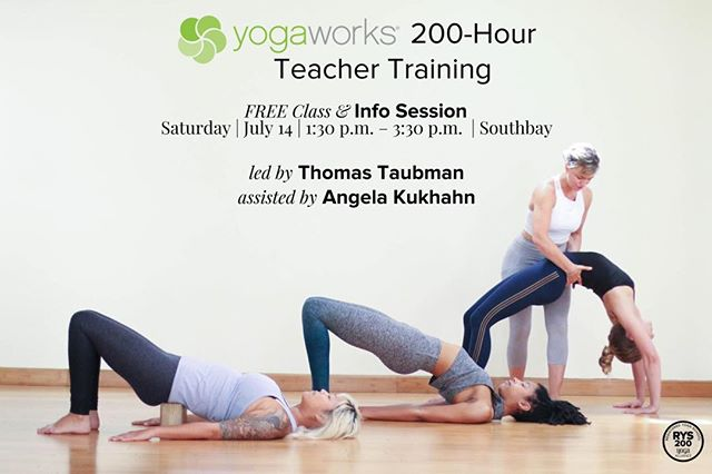 Hello Yogis, very excited to be leading the two hundred hour teacher training @yogaworks South Bay starting this September. This experience will be life changing. Saturday July 14th, we will be offering a free informational class  from 1:30 -3:30 at Yogaworks South Bay ! So come join us and you will learn a new way of using props and stability in weight bearing poses, such as plank and side plank! Namaste ! . Joining the fabulous team is @angelakukhahnyoga to help teach & @nutrilicious_bymaria to help organize!. Dates: Sept 8 - Dec 9, 2018  Sat & Sun 1:15 - 7:45pm . Price: $3,300 by 7/8 $3,500 by 8/8 $3,700 after. . Tuition includes 3 months unlimited yoga Register online at yogaworks.com/teachertraining  Contact Teacher Training: Teachertraining@yogaworks.com (310)- 664-6470 Ext 131 . . #yoga #yogaworks #learning #knowledge #passion #courage #commitment #teacher #adventure #creativity #believeinyourself