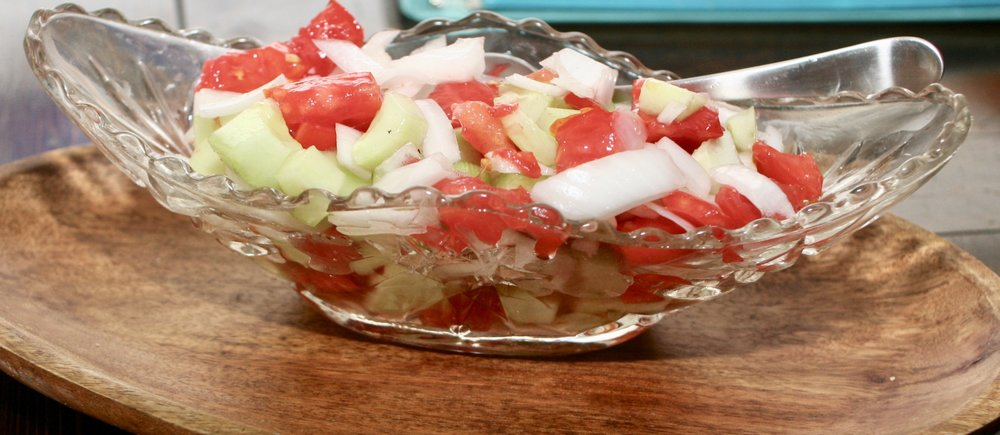 Fresh Cucumber, Tomato and Onion Summer Salad
