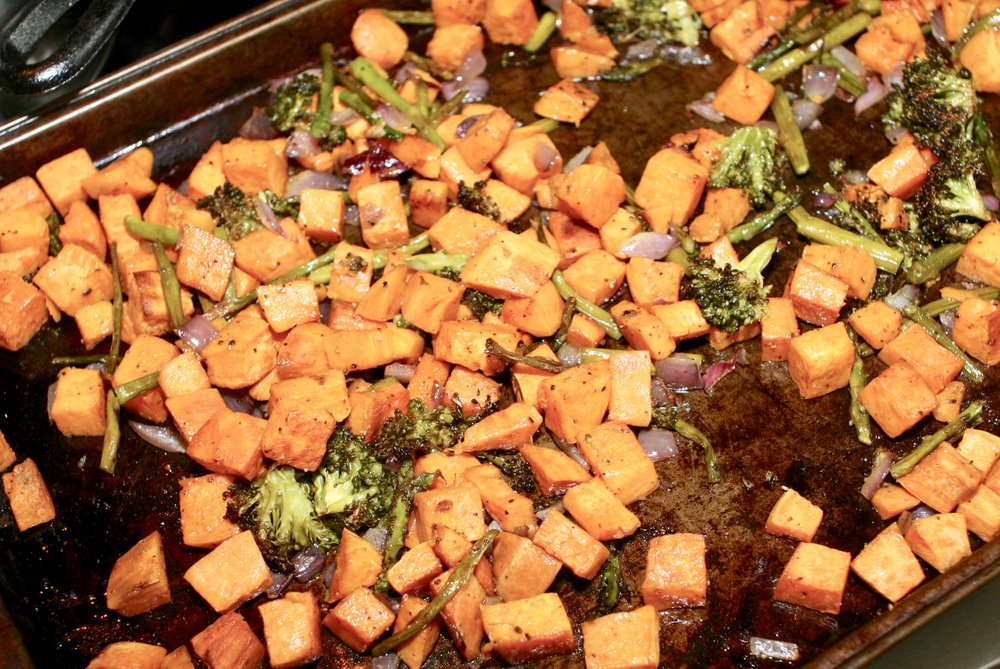 roasted sweet potatoes and veggies