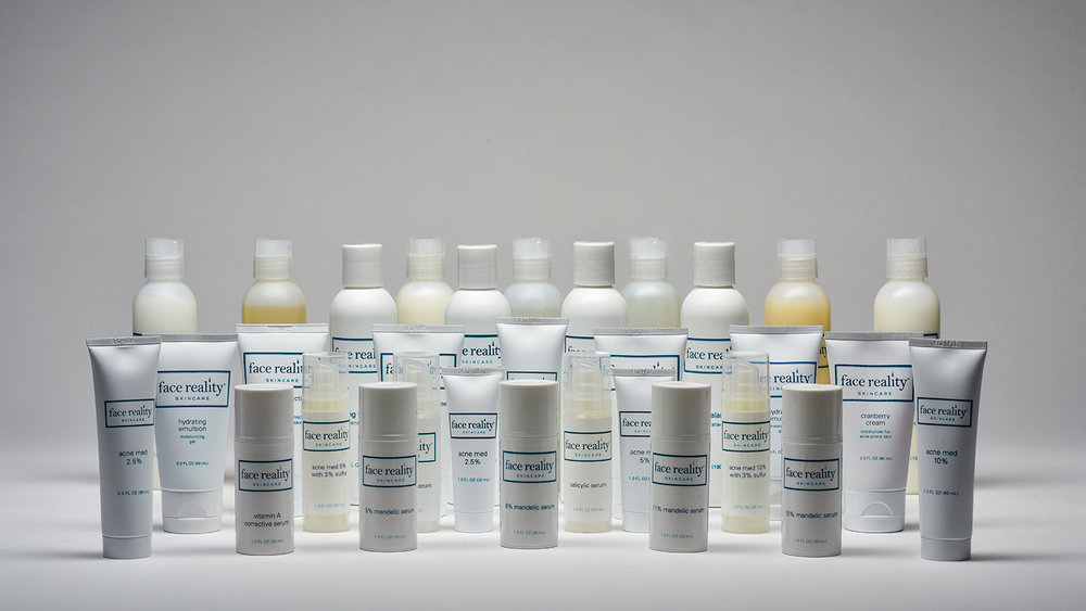 The Face Reality products that are available for purchase are specifically formulated for acneic skin and are guaranteed to not clog your pores. However, they will not get your skin clear on their own. If you would like to get the other products in our product line that are strong enough to help you get your skin clear, you should make an appointment with us if you are local, so that we can examine and test your skin.