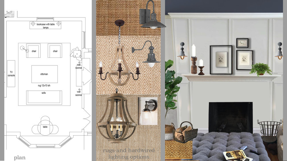 LIVING ROOM MOOD BOARD + SKETCH