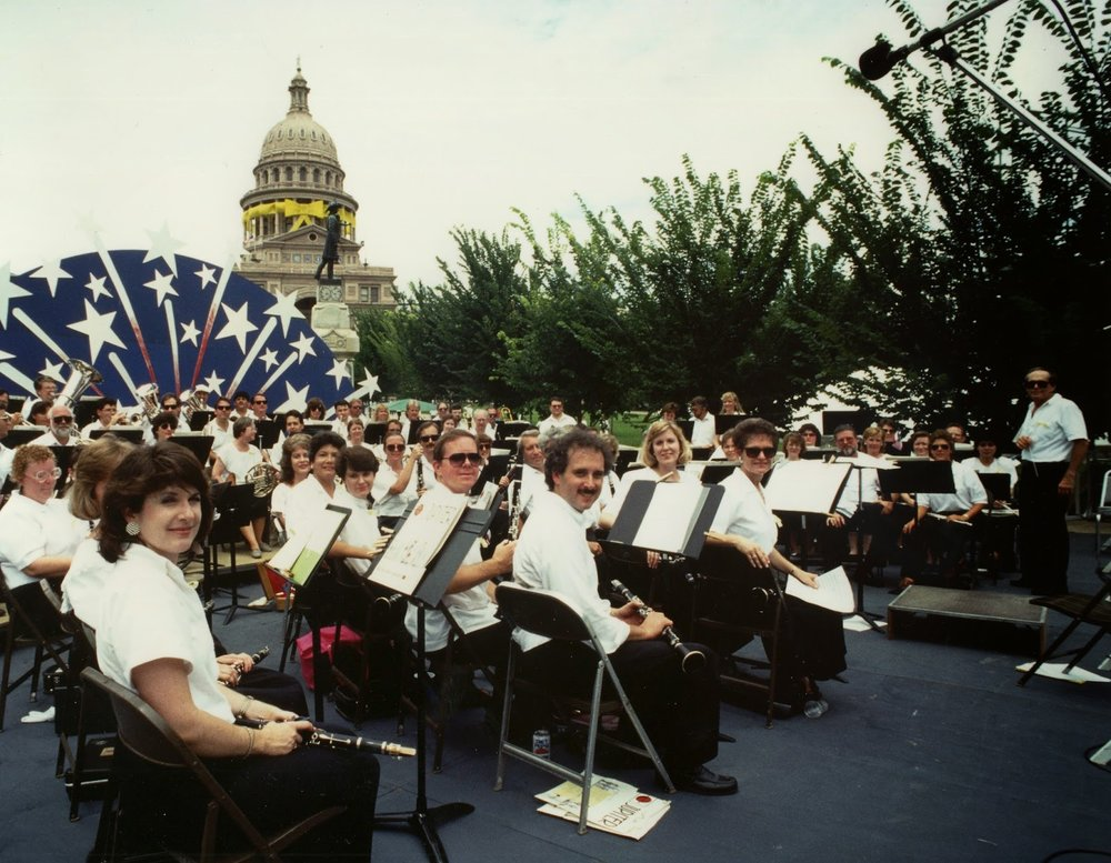 The Austin Symphonic Band welcomes home the troops, June 30, 1991.