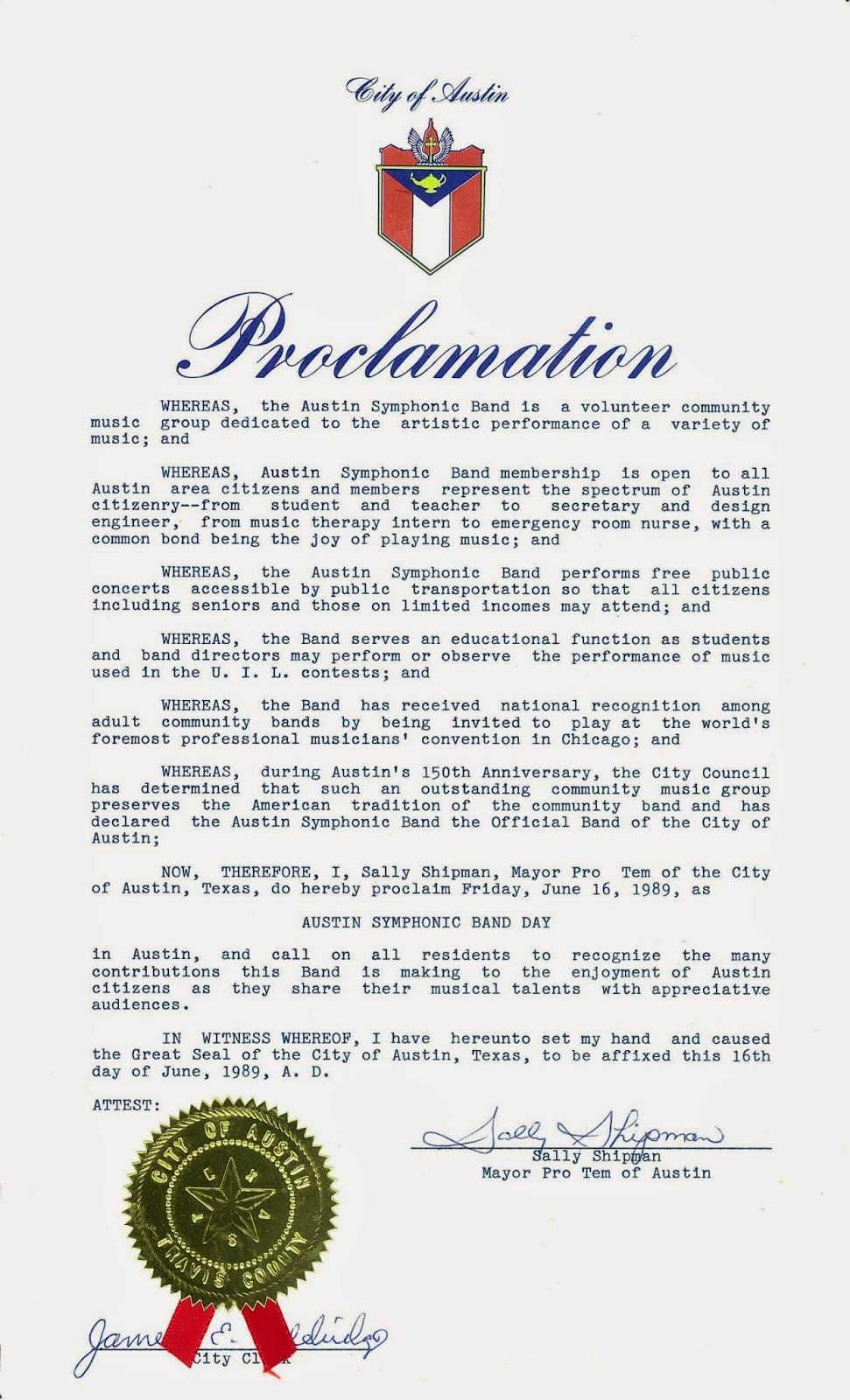 Smoot Carl Mitchell presents Official Band of the City of Austin Proclamation, June 16, 1989.