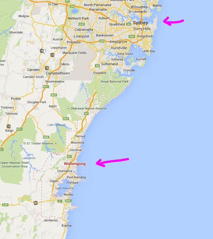 Map of Wollongong, Australia