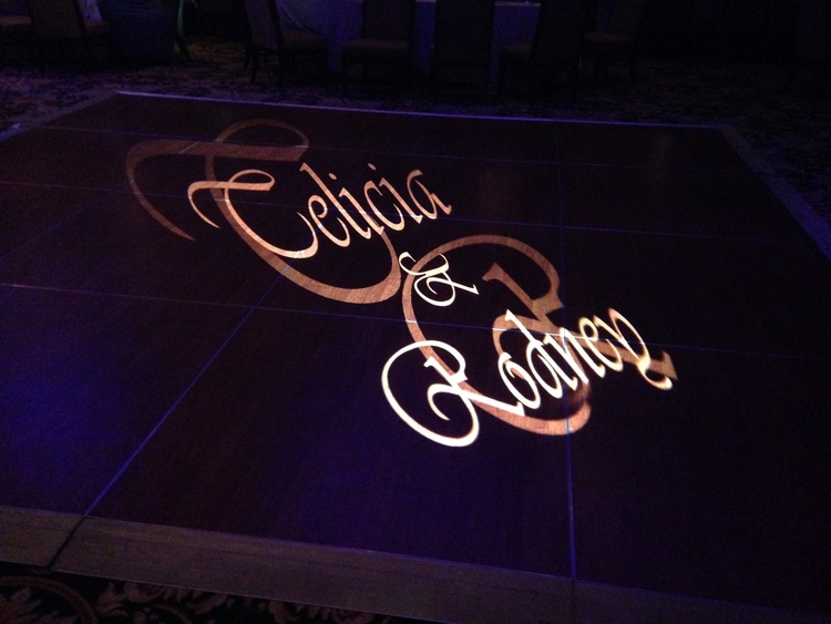Gobo Monogram - Add your custom monogram/logo, or choose a design from our extensive catalog. Display prominently on a focal wall or dance floor.