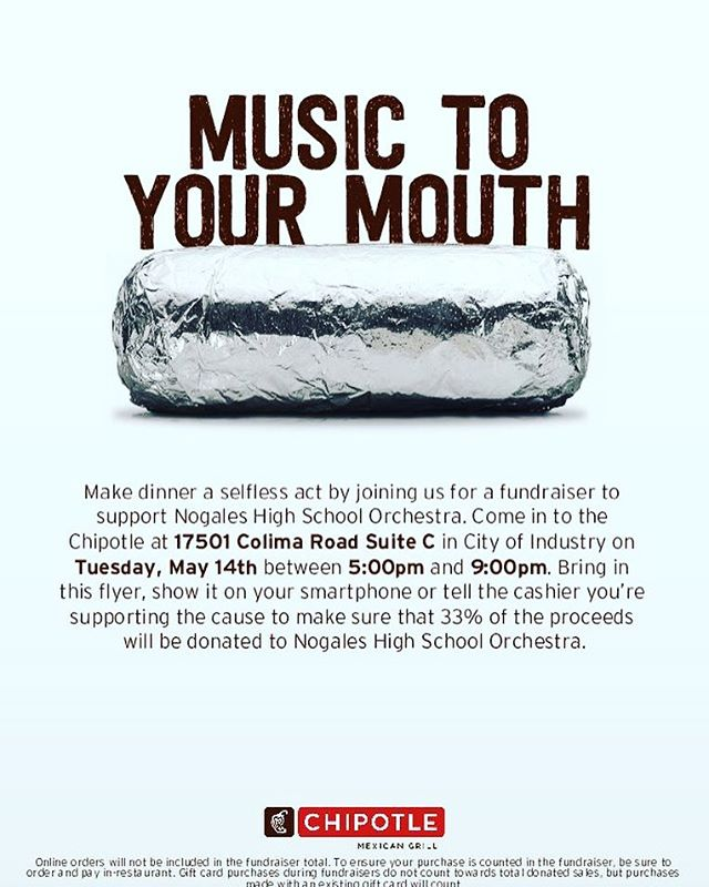 May 14 Save the date! Help support our orchestra by treating yourself to some delicious food.