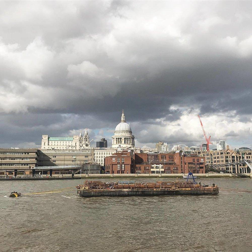 Bustling Thames River under an ominous late winter sky.  -  #unitedkingdom #england #london #thames  (at London, United Kingdom)
