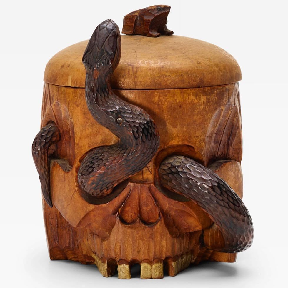 Folk art momento mori humidor.  Carved and stained maple wood and glass.  American, undated.  -