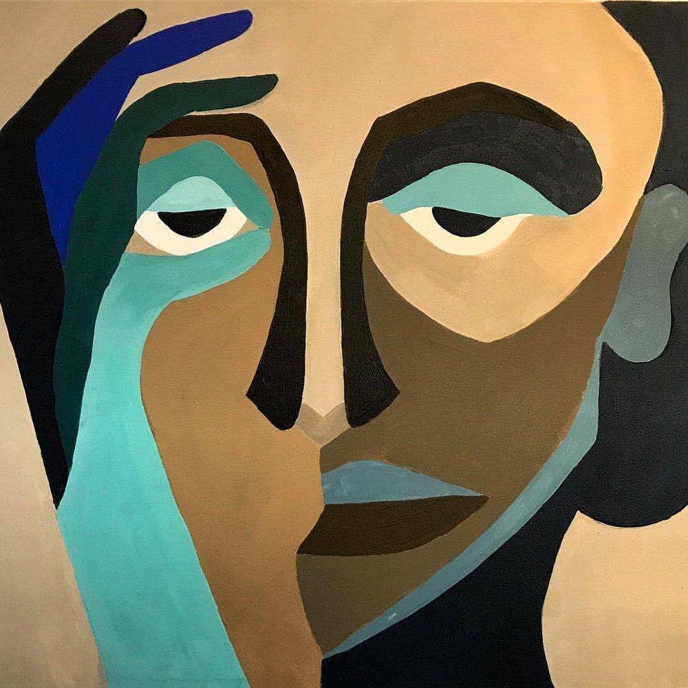 Afro Blue  by Isabella Tangherlini   Acrylic on Canvas 2016  -  #art #coffeeandart #berkeleyart #supportart  (at Artís Coffee)