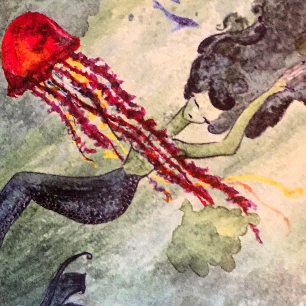 Watercolor art for a seafood menu.  #art #menudesign #seafood #mermaid  (at Ondine House)