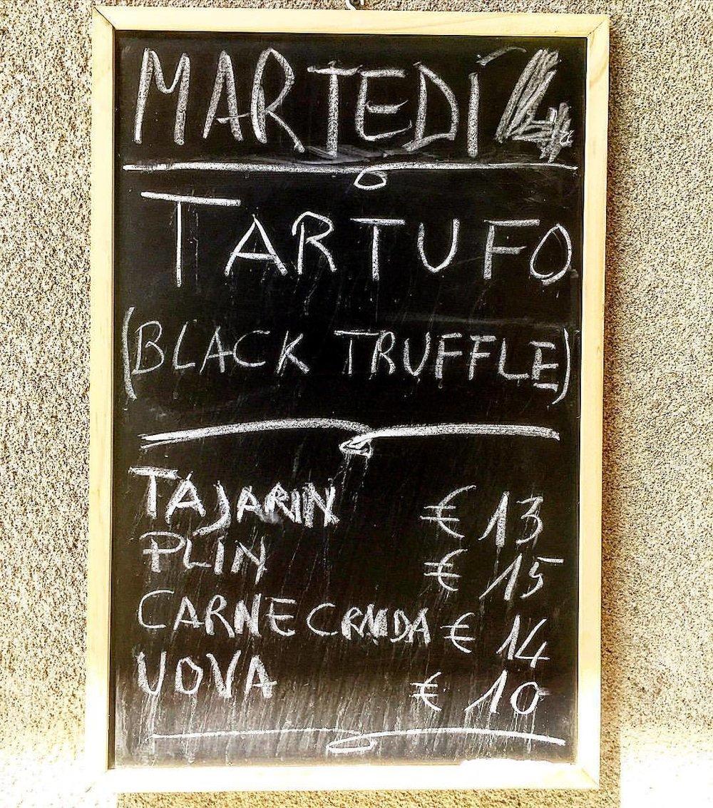 Wednesday's menu.  #italy #piedmont #truffles #funghi  (at Alba, Italy)