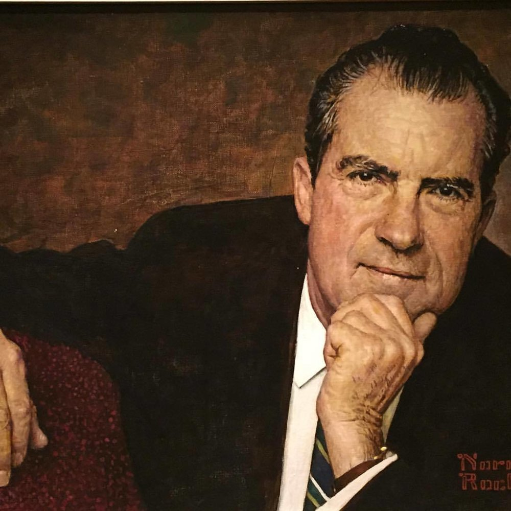 President Richard Nixon  by Norman Rockwell (1968) who later admitted flattering Nixon in the painting, finding him troublingly elusive.    #americanart #washingtondc  (at Smithsonian American Art Museum and the Renwick Gallery)