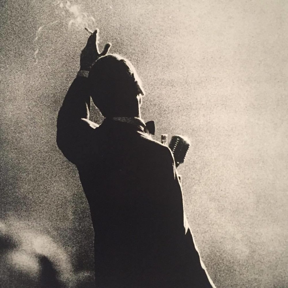 Frank Sinatra captured by jazz portraitist Herman Leonard, 1958  #americanart #photography #jazz #blackandwhitephotography  (at Smithsonian American Art Museum and the Renwick Gallery)