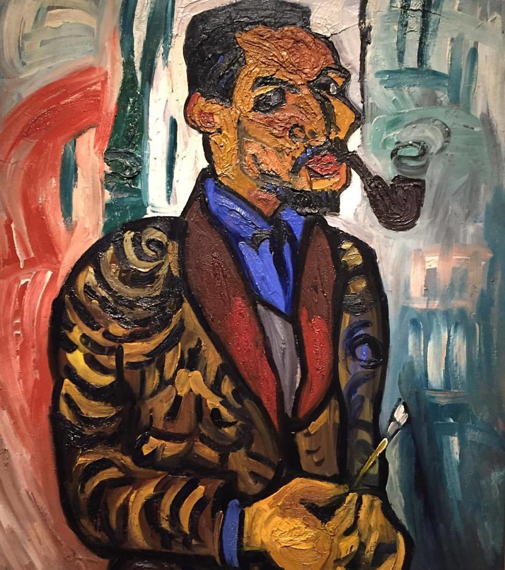 Self-Portrait with Pipe  William H. Johnson   1937  #americanart #americana  (at Smithsonian American Art Museum and the Renwick Gallery)