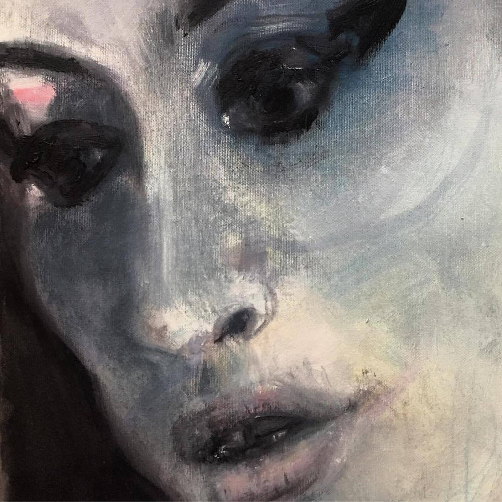 'Amy Blue'  Singer and songwriter Amy Winehouse by Marlene Dumas.  Oil on canvas.  Memorial portrait, 2011.  #england #london #amywinehouse  (at National Portrait Gallery)