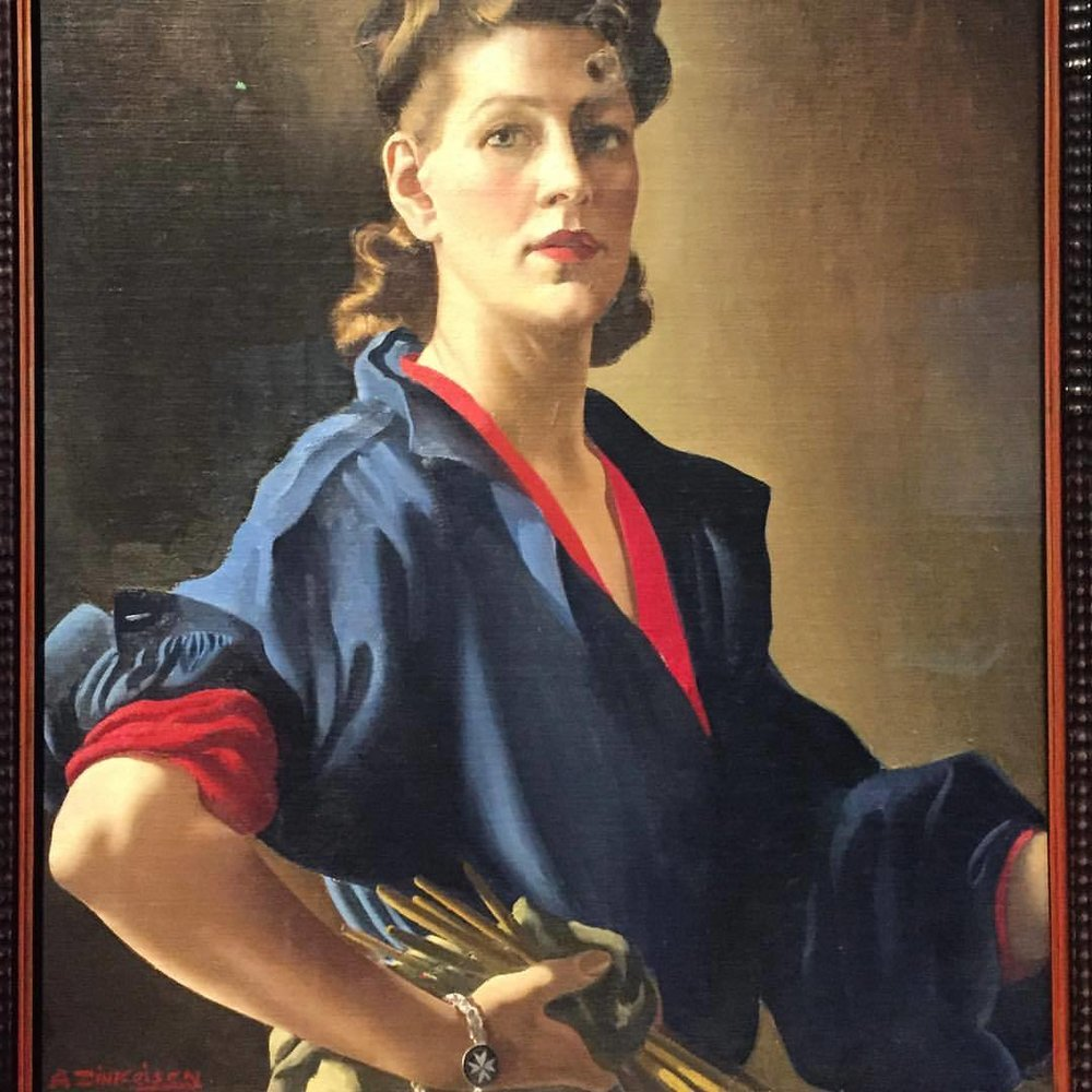 Anna Zinkeisen (1901-1976) was a portrait painter and a muralist, creating murals for the ocean liners Queen Mary and Queen Elizabeth.  She later specialized in pathological and clinical drawing and worked in the casualty ward in St. Mary's Hospital in London during the horrors of World War II.  She often painted in a disused operating theater there.  Self-portrait, 1944.  #england #london #womenaredoingitforthemselves  (at National Portrait Gallery)