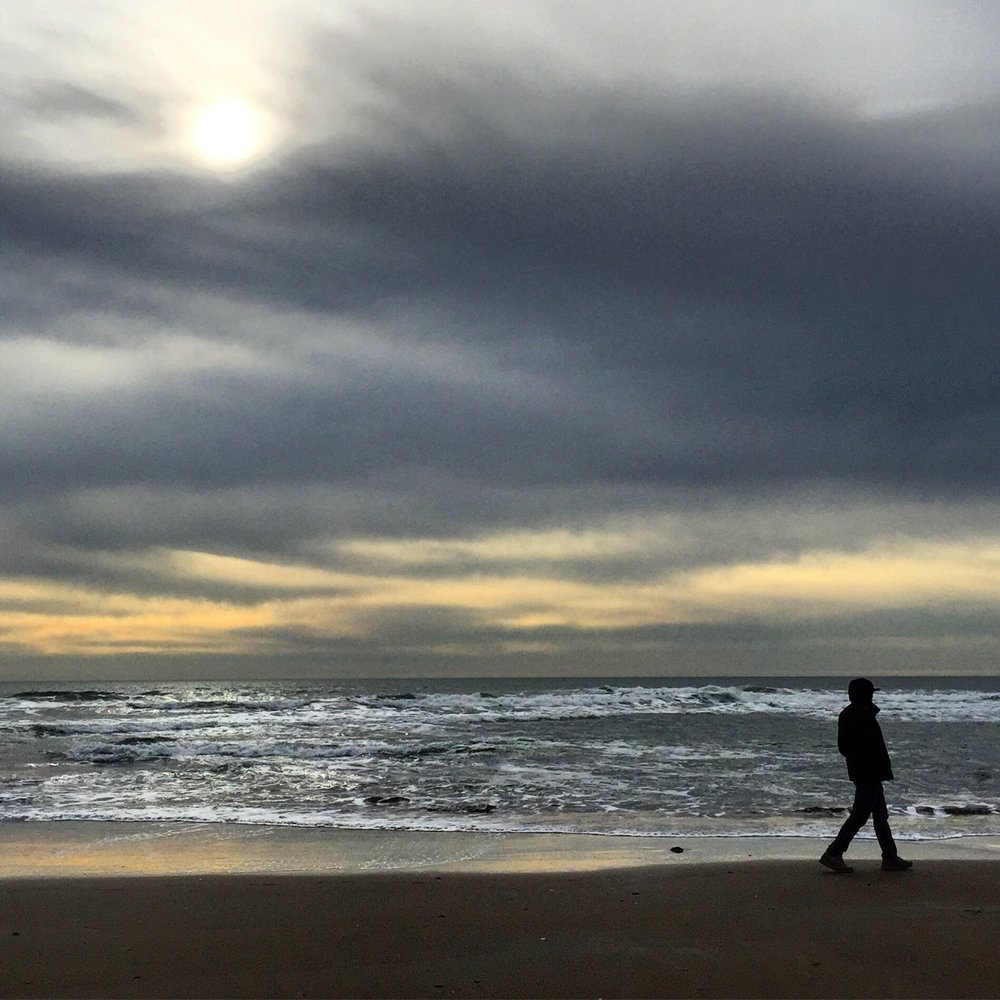 A late-afternoon, winter walk along the Pacific.    Stinson Beach, California.