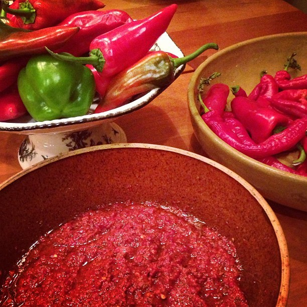 First Harissa of the season…  Made in batches to enliven our hearty winter suppers… (at at home in Napa)