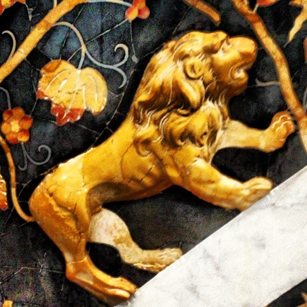 August is the month of the lion!  This king of the jungle was created in the 15th century with marble inlay to embellish an ornate church in Palermo, Sicily (at Chiesa Santa Caterina Vergine e Martire)