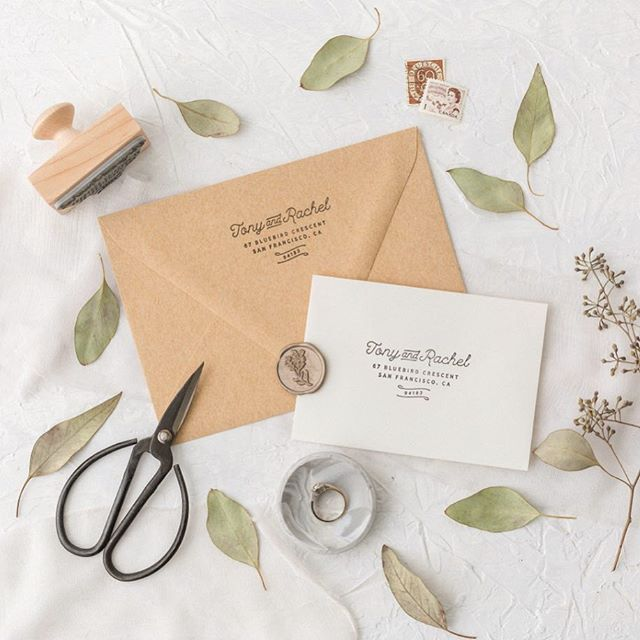 Last day to take advantage of the launch sale! All stamp orders placed this past week and today will be shipped this Friday 📸 @arianadelmundo #customstamp #stationery #etsywedding