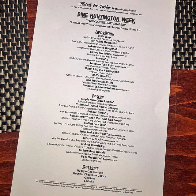 #DINEHUNTINGTON Starts this coming Sunday 10/7 to 10/14! We will be offering an awesome special 3 course menu for JUST $30. This is a menu you don't want to miss. Call Black & Blue now to reserve your spot. 😍😁 #HuntingtonVillage #LongIsland #BlackAndBlueSeafoodChophouse