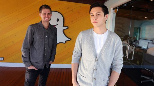 Snapchat's co-founders Evan Spiegel and Bobby Murphy. Photo courtesy of Getty