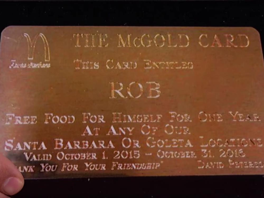 Rob Lowe's Gold Card. Photo courtesy of ABC
