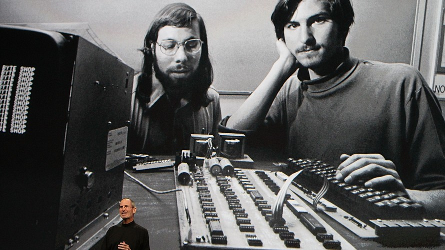 A picture of Steve Jobs and Steve Wozniak from 2010 Apple Event. Photo courtesy of Apple.