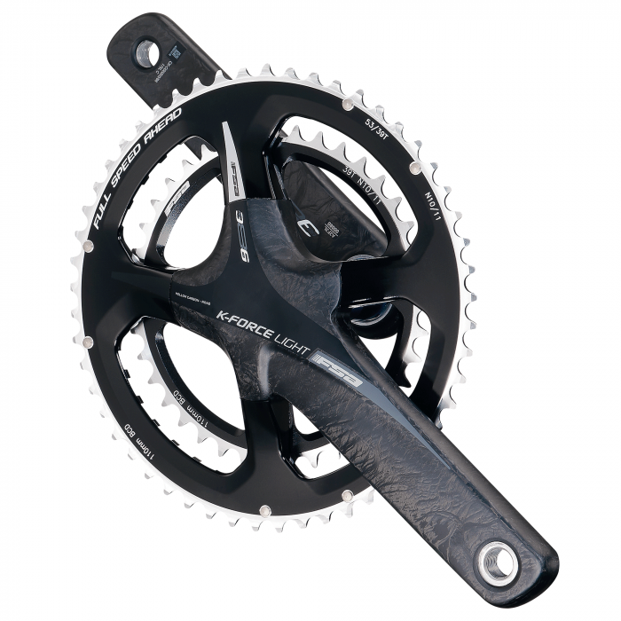 K-Force Light ABS BB386EVO - The K-Force Light ABS BB386EVO road crankset features hollow carbon fiber arms for incredible stiffness and minimal weight. The adaptable BB386EVO 30mm spindle will fit a wide variety of frames with a broad range of BB standards.