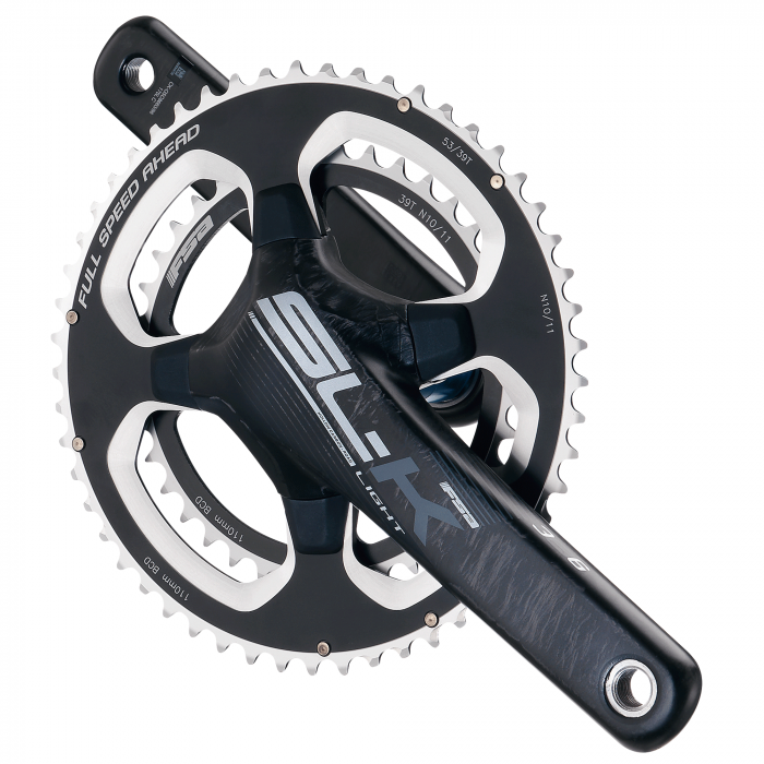 SL-K Light ABS BB386EVO - FSA's latest SLK crankset uses Asymmetric Bolt Spacing (ABS) technology with five asymmetric arms providing ultra lightweight direct power transfer.