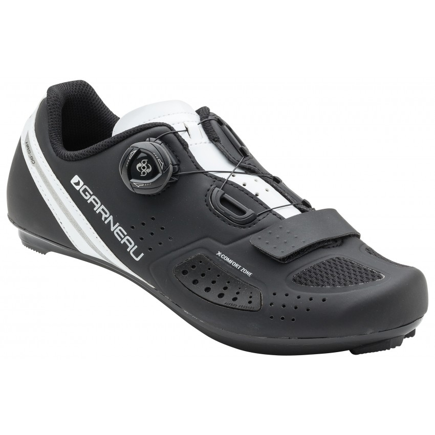 Ruby II - Garneau won the prestigious Eurobike award for the X-Comfort Zone technology featured in this shoe. This patented and innovative design allows the shoe to stretch to accommodate B to D+ foot widths thanks to a ventilated elastomer-spandex insert
