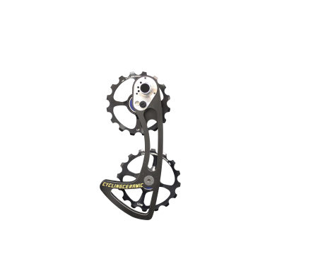 ODC Shimano - Our oversized carbon cage system for shimano combines two 16-tooth aluminum derailleur wheels machined in France. The cage is made of carbon UD coupled with titanium screws. Compatible with Ultegra series 8000 and Dura Ace 9100/9150, mechanical and DI2.
