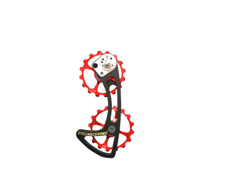 ODC SRAM - Our oversized cage system for mechanical Sram combines two 16-tooth aluminum derailleur wheels machined in France. The cage is made of carbon UD coupled with titanium screws. Compatible with Sram Rival / Force / Red and Apex groups only.