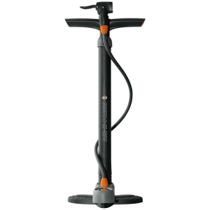 Air-X-Press Control - Lightweight plastic floor pump with precision gauge:– with huge, solid base– Multi-Valve-Head with thumb lock lever for all valves