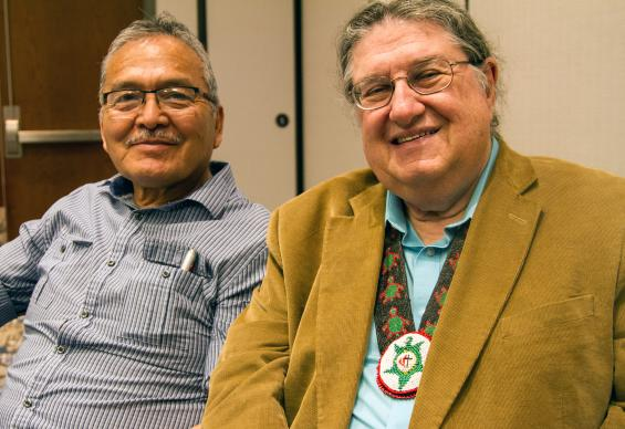 Pastor Norman Mark with NACOS Director Fred Shaw.   So far, more than 25 students have completed the Native Course of Study. The program requires 20 courses and takes five years to complete. Photo courtesy of Fred Shaw.