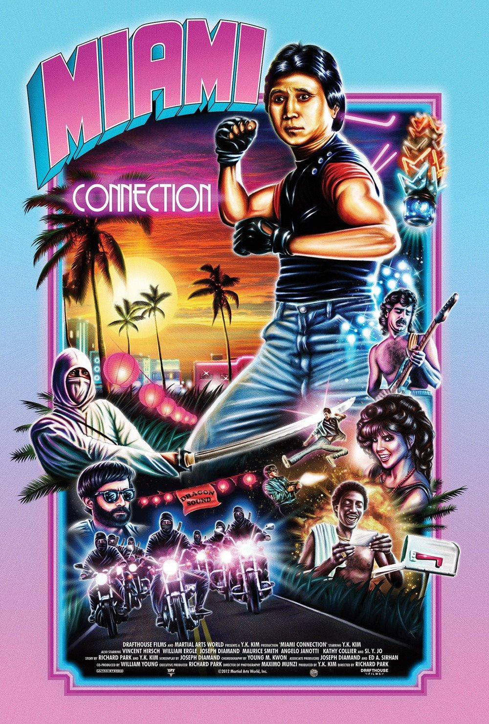 "Miami Connection - By Adam M. WilcoxWhat would a quintessential 80s film be comprised of? Rock and roll with a lot of keyboards, ninjas, cocaine, mullets, martial arts, cocaine, motorcycles, cocaine, a lot of gore, and did I forget to mention cocaine? Somewhere in Miami, in 1988 this film came out and was laughed out of the theater. In spite of that, Miami Connection is my spirit animal.For me to poke any fun at this movie would be mean spirited and just wrong even by my standards. While this movie is definitely badly shot, badly acted, and heavy on laughs, it is very clear that this movie though misguided, does come from a place of love. It has a lot of heart. Tae Kwon Do expert Y.K. Kim believed in this movie so much he put mortgaged his martial arts studio, his house, borrowed every last nickel he could to make it. Unfortunately it wouldn't find its audience until 2012 when Austin TX's Alamo Draft House pulled this album out of mothballs. The film was so well received that the Draft House gave it a second release on digital streaming services, limited VHS, DVD, and Blu-Ray.The premise is pretty simple really, take all of your favorite parts of Eddie and The Cruisers, Enter the Ninja, and Miami Vice, and assemble a wicked action flick. A pack of motorcycle riding Ninjas (the Harley Davidson kind, not the sport bike kind) decide to ambush a coke deal, and steal the coke ""somewhere in Miami"" that's the actual caption on the establishing shot. Later the biker ninjas go to a club where ""The Dragon Sound"" is playing. The Dragon Sound is the most goodie two shows bunch of Tae Kwon Do black belt pop music playing dudes you will ever see. One of the brothers of the biker ninjas is pissed off because his sister is in the band. Eventually this brother's anger gets the band and the ninjas into a war with each other. The rest of the movie is over the top martial arts, bad acting, full length songs by the band faking the music playing very badly, limbs being sliced off with blood squirting out, shirtless dudes feeding each other grapes, a guy that looks like he got kicked out of Hall & Oates, some insanely bad accents, some really over the top bad acting. Honestly to the movie's credit, the action is really good! I mean it is fucking great! Obviously the movie was shot on a budget, but I am always super impressed at how many extras are in this movie. The fights are always spectacular, and the effects are the good kind of practical blood and guts effects that we took for granted in the 80s. Not to mention the synth scores that are trying to emulate the works of the famous Michael Mann TV show, does a pretty good job of being catchy and trendy. Speaking of trendy, I guarantee that at least one of the stupid songs ""performed"" by The Dragon Sound will be stuck in your head for weeks. For me it's ""Friends Through Eternity"". This movie is a laugh a minute and it makes me so happy every time I watch it, that it is my new favorite film to watch when I am having a bad day, and I need something to make me happy again. For a really good time, go to YouTube and type in: ""Dragon Sound: Friends Through Eternity"" and watch the full length video that is actually a part of the film, or just type in ""Miami Connection"", and watch the official 2012 trailer. To quote the film ""Only through the absence of violence can we achieve peace"", well only through laughter at watching Miami Connection will you achieve nirvana? This movie gets nothing lower than 5 out of 5 cheese curds; it's an instant classic, a crowd pleaser, totally worth skipping the rental and going straight to Blu-ray, I cannot say enough good things about it. If you have Amazon Prime, you can watch this one for free with, or without the RiffTrax commentary. Either one works. If you have Vudu, you can also currently watch this one free with ads."