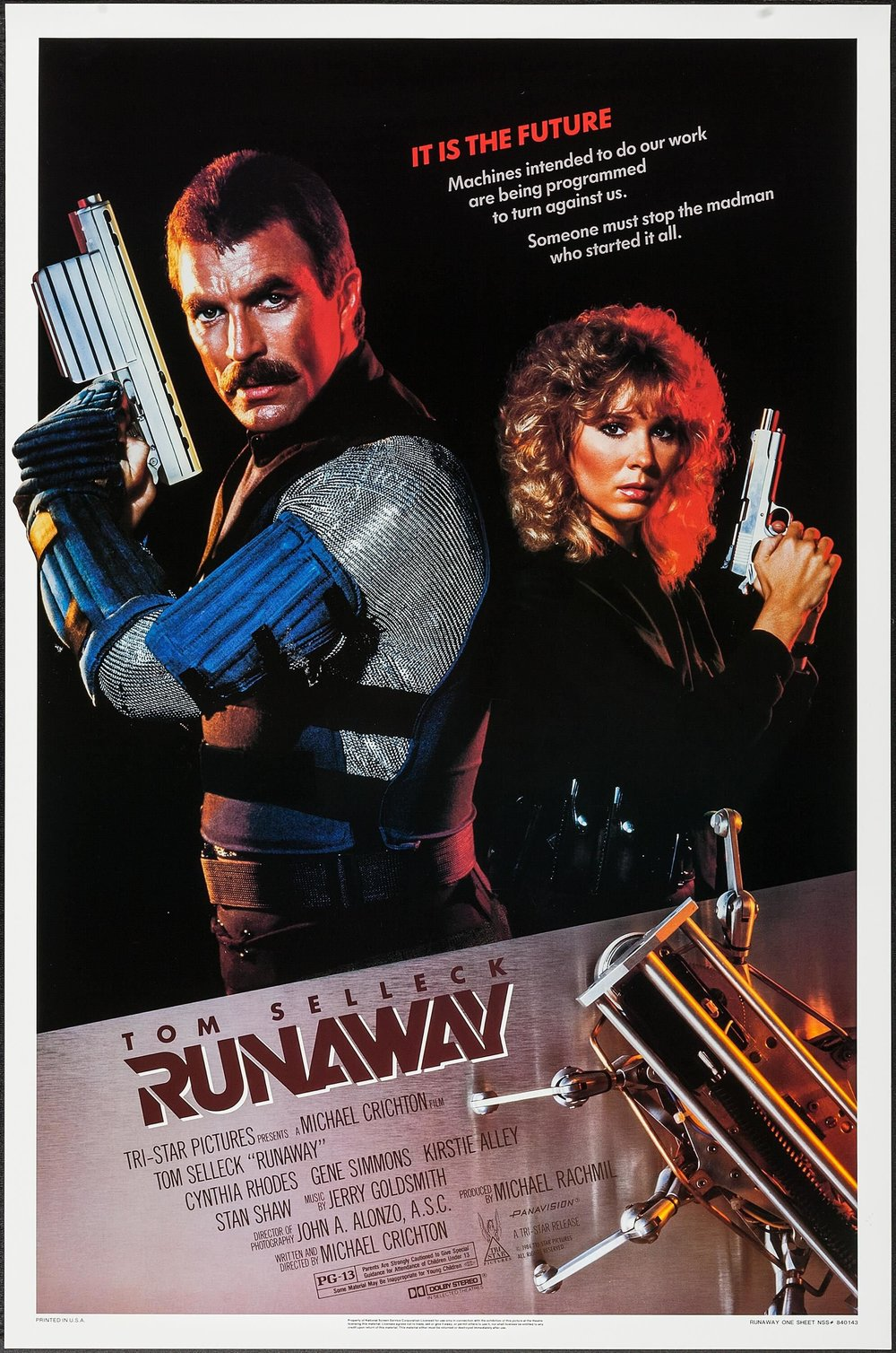 Runaway - By Adam M. Wilcox1984 was a scary time for people. It wasn't because of some Orwellian nightmare, it was future shock. The microchip was the latest and greatest thing in town. Computers were becoming a household reality. Even my Grandpa once showed me a picture of a microchip on the cover of National Geographic, and told me that it was going to change everything. He was right of course.Like any good science fiction, the latest and greatest tech must be presented in its worst form in order to scare us of things that could happen, if not regulated properly by mankind. Written and Directed by Michael Crichton, Runaway tells the story of a not so distant future where robots are a part of everyday life through the eyes of Jack Ramsey (Tom Sellek), a police sergeant who runs a small police unit that specializes in robots that malfunction. Ramsey has a job that nobody wants, but Ramsey pursued this career path, as a means to avoid his overwhelming fear of heights. To put it simple, he is the local expert, because he happens to know more about the field than anyone in the department. His chief thinks he's an asshole, his chief is an asshole, and Ramsey is basically surrounded by assholes most of his day, so robots are a means to and end.Most of the days, Ramsey is called upon to do meaningless tasks like chase farm robots, and gets scolded and scoffed at by anyone he comes in contact with. He's less of a cop, and more of a high tech exterminator, or dog catcher depending on the situation. Every once in a great while, a robot goes really bad, and deaths are involved. It is during one of these encounters where Ramsey picks up the trail of a freelance high tech genius turned arms dealer named Dr. Charles Luthor played by a scenery chewing Gene Simmons in his cinematic debut. Luthor is trying to track down the templates for making bullets that track its prey using similar technology as a heat seeking missile. Luthor is also a futuristic James Bond type villain who also has deadly microchips that turn normal robots into lethal killers, and dispenses a small army of robotic spiders that inject people with acid, and explode upon completion.The plot of this movie sounds pretty basic because it is. The acting in this movie is pretty stiff, and I am not sure if that is intentional, but it doesn't bother me, in fact it kind of makes this movie work. The true star of this movie is the special affects and the technology in this movie that will blow your mind. Keep in mind this movie was made in 1984 yet police officers communicate with Blu-tooth headsets, use tablets with facial recognition software, use surveillance drones, remember drones in the early 1980s? They didn't exist! It's creepy and awesome. If somebody told me Michael Crichton went to the future, or had some friend working on next level technology I would buy it. In fact most of the technology in this movie actually looks quite believable. Of course there are some scenes that involve maybe a laser or two, but most of it is pretty practical stuff. Even the heat seeking bullet is in development. The steady cam view from the bullet itself as it tracks its prey around corners, circles back, and flies back towards its victim is some really fun stuff. The plot may be disposable, but the day to day life of a cop who handles malfunctioning robots could be a fantastic television series, if done properly. Does this maybe sound like I, Robot to you? This is in some ways a better movie. Oh, and of course that fear of heights thing, will play back into the plot again at some point, don't worry.I remember seeing Runaway as a kid on cable TV back in the 80's. This film was abandoned in time, and forgot about, and since this movie came out the same year as The Terminator, it is not hard to understand why, but I think this movie does hold up well on its own. This is perhaps one of many lost flicks that may be finding its audience now. It might not have a lot going for it from the acting, but the special effects and world building technology are more than enough to carry it over the finish line. I give this one a 3 out of 5 cheese curds, its fun and worth a look. Runaway is currently available on Amazon Prime in wide screen HDX.