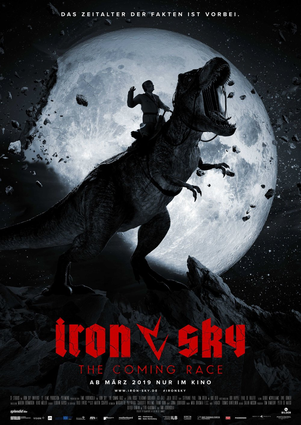 "Iron Sky: The Coming Race - by Arnór Hermannsson WikströmThis movie is what happens when a creator has no faith in their art. My main problem with the first Iron sky movie was that it didn't take itself seriously. I didn't mind it being a comedy, even though the teasers had promised a much more serious tone, but it seemed to me as if the creators of the film had so little faith in their subject matter that they buried the film under a layer of silliness, just so they could vindicate themselves by saying ""I know it's dumb! It's supposed to be dumb!""However, Iron Sky did gather a cult following, and a sequel was very much in demand by its fan base, so the crowdfunding began anew, and with a bigger budget and more reason to believe in themselves, Iron Sky: The coming Race was grinded out.This film took five years to make. The first teasers dropped in 2014. I went in to the theater hoping to see that the creators had used this time wisely, smoothing out the crinkles and making a solid story.Not only does Iron Sky: The Coming Race not believe in itself, it seems positively ashamed of its own existence. The scenes are played out with such camp and tomfoolery it sometimes feels like you're watching a children's show with gore. No scene is played straight, they all feel like they're desperately winking at the camera to remind us that they know they're making a stupid film, and a problem with the film having taken so long to make is that the reference humor is so dated it's gone sour. The film opens with a scene of an american president who is clearly modelled on Sarah Palin, and that just feels weird, since it's been eleven years since she ran for vice president alongside John Mccain, a race that they famously lost, which makes you ask the question ""Why are you reminding us of a person we haven't given a shit about for over a decade?""The film's scenes seem to fluctuate in budget. Some scenes look like they're from a low budget kids' show, others look positively stunning, look out for a great scene with lizard Hitler riding a T-Rex named Blondi (which was the actual name of Hitler's german shepherd).There's a scene in a cockpit, when the heroes are crashing to earth, where the two main characters play off of each other nicely, but where the filmmakers seem to have completely forgotten that there are actually supposed to be four other people on board.Anyway… the film also suffers from the wooden acting of its leads, especially since it's trying to pass itself off as a screwball comedy, and none of the lead actors have any comedic talent. Main protagonist Obi, played by Lara Rossi, is a straight-faced no-nonsense action movie type that sadly feels out pf place in a film where she should've been perfect, had it been handled correctly.The great Udo Kier does his best, and his returning Moon-Führer narrowly saves most of the scenes he's in, but sadly that's not his only part in this film.He also plays a lizard Hitler, and seems to lose his mind completely in that getup, as if the concept itself is so weird that he desperately needs to overreact to keep up with all the silliness going on around him.One of the best characters in the film is a stone-faced cult leader played by Tom Green, who surprisingly gives the most serious performance of the entire film. Green plays every scene with real presence and gravitas, being remarkably funny with his deadpan delivery.What takes you out of the film the most is not the acting, or the dated references, silly humor, or sometimes pathetic CGI. It's the script. Especially the back story.The only thing Iron Sky: The Coming Race has to stand on is a pretty weak previous film that still works if you're willing to look past its most glaring faults, but the sequel adds background details that pretty much retcon the entire story of the first film, making the connection between the two movies nonsensical and fragile, so much so that it comes off as a completely stand-alone film that just so happens to star some of the same characters.It's almost as if the creators of this film decided to throw so much stuff into the mix that you would be too confused to see that they had made a bad film.But that is ultimately what Iron Sky: The Coming Race is. A bad film. In almost every sense of the word.Sure, there are some funny jokes, some memorable scenes, and at least two very hard working actors doing their best to carry the whole mess, but it's just not worth watching the rest of the film to get those things.One of the funniest scenes in the film is the sequel tease at the end. Expertly executed and exciting, but since it arrives at the end of a complete disaster of a film, you really just hope they leave it at that, that don't ruin any more potentially great subjects.This film being made relied heavily on the crowd-funding by fans of the first film, and it would have been nice if it appeared to take its fans seriously. Instead it comes off as a virtual slap in the face of those who donated to it. Why would you want to give any more money to artists who are not going to take your donation seriously?No more Iron Skies, please. You just can't pull it off.1.5 lizard Hitlers out of five possible. Not even the music of Slovenian art music group Laibach could save this flailing mess."